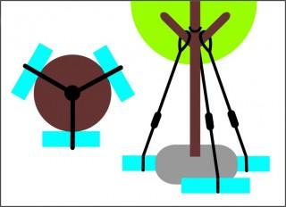 Nadzemní kotvení stromu za kmen č.3